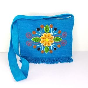Wool embroidered crossbody boho flap purse